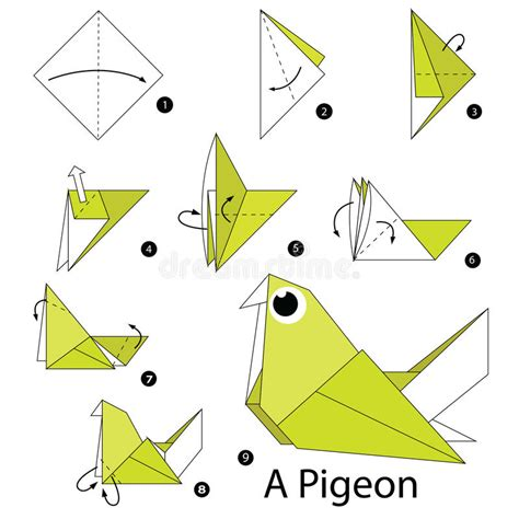 Steps To Make Origami - step by step how to make origami a pigeon