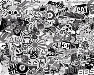 stickerbomb black white
