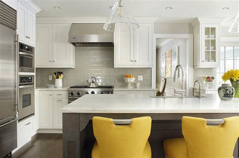 grey white yellow kitchen taupe kitchen island with dove gray counter stools