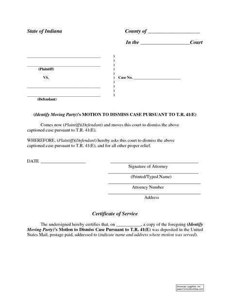 Motion To Dismiss With Prejudice Template by Best Photos Of Motion To Dismiss Form Sle Indiana
