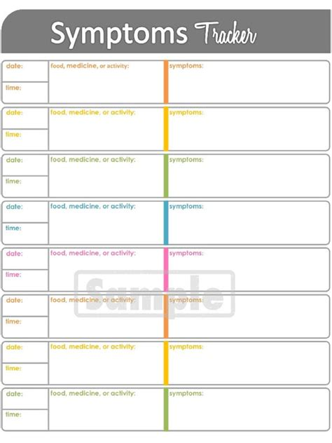printable daily health journal symptoms tracker printable for health and by