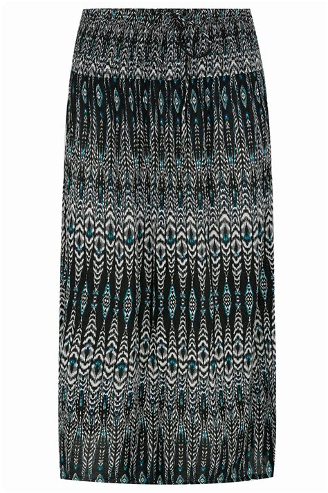 black white blue aztec print maxi skirt with ruched