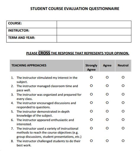 course evaluation template course evaluation 4 free for pdf