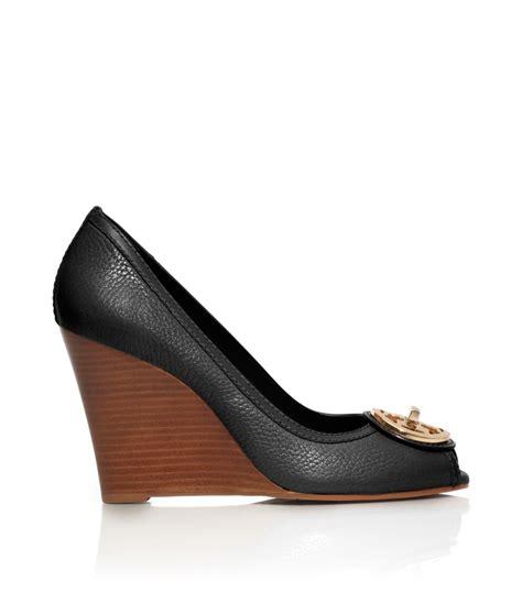 wedges wanita gabino selma black lyst burch selma open toe wedge in black