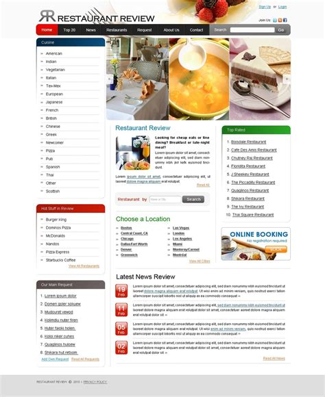 Restaurant Reviews Website Template 28373 Restaurant Website Template With Ordering