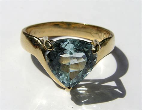Handmade Aquamarine Ring - made aquamarine gold ring custom handmade by evb