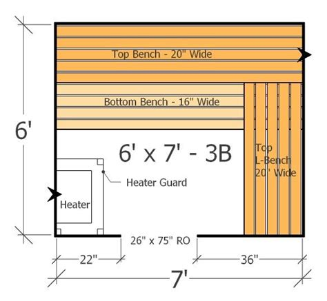 sauna bench plans 6x7 sauna layout with 3 benches best use of space with