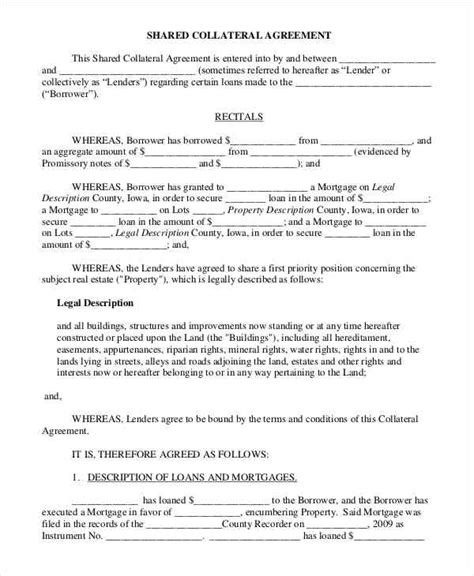 collateral agreement template 10 collateral agreement templates free sle exle