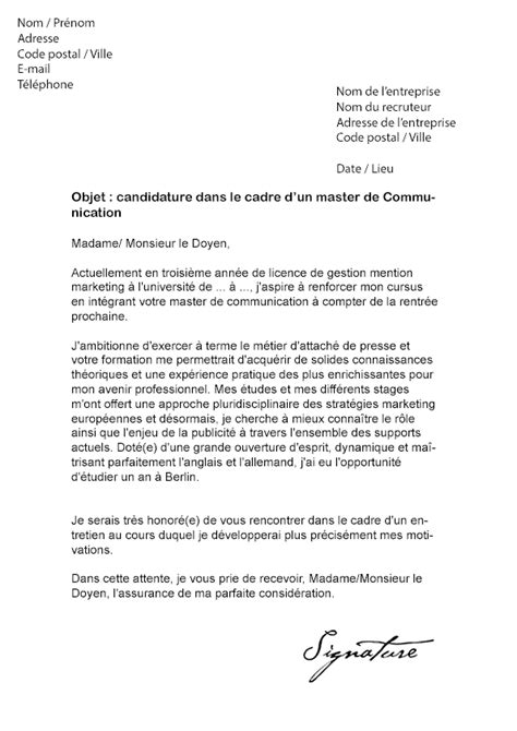 lettre de motivation master communication mod 232 le de lettre