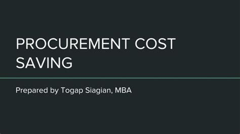 Tu Mba Cost by Procurement Cost Saving