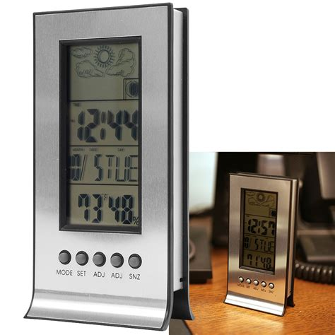 digital weather station with alarm clock thermometer ebay