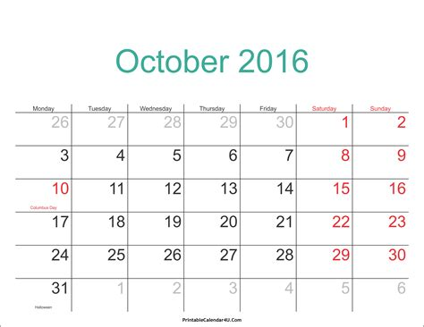 Calendar 2016 Holidays October 2016 Calendar Printable With Holidays Pdf And Jpg