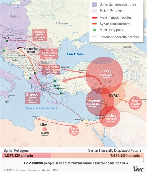 middle east map vox the syrian refugee crisis explained in one map vox