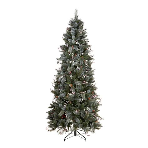 real christmas trees bq 7ft 6in valberg frosted green white pre decorated tree departments diy at b q