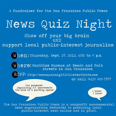 Invitation Letter Format For Quiz Competition News Quiz On Sept 27 San Francisco Press