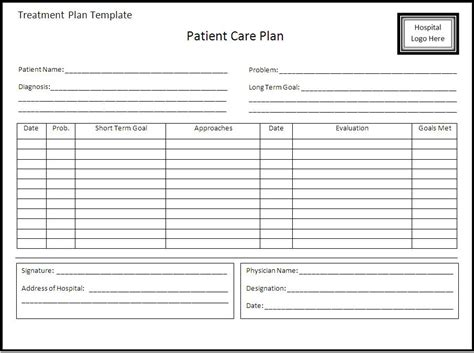 treatment plan template treatment plan template word excel pdf