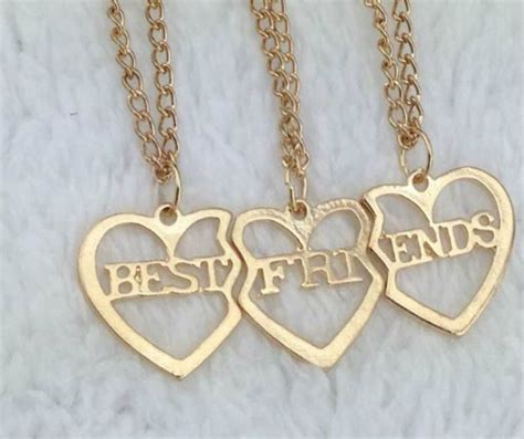gold tone 3 hearts best friend friendship necklace one set