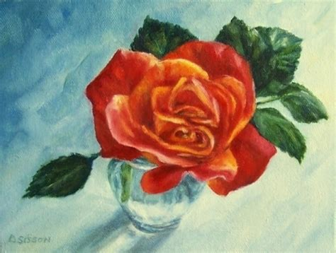 Rosebud 2cm single rosebud painting flower still garden