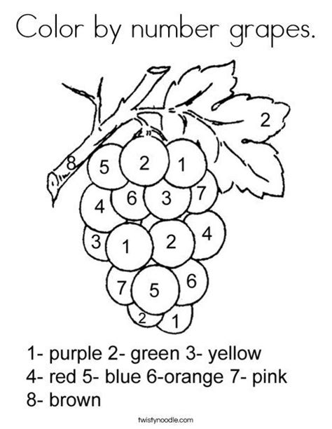 color  number grapes coloring page twisty noodle
