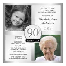 silver 90th birthday invitations then now photos 5 25 quot square invitation card zazzle