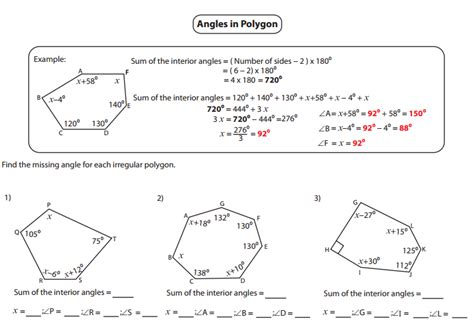 Exterior Angles Worksheet by Interior And Exterior Angles Of Polygons Worksheet