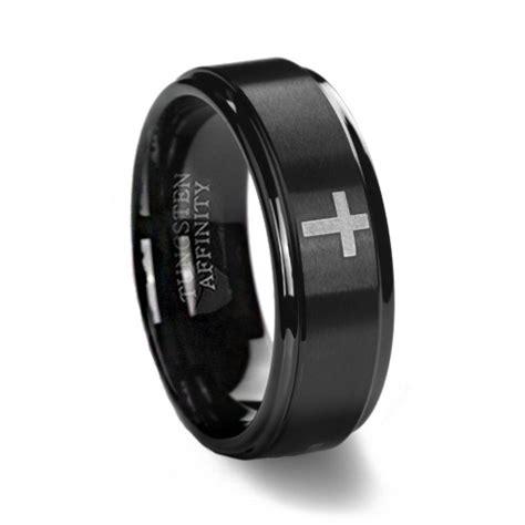 black brushed cross wedding ring