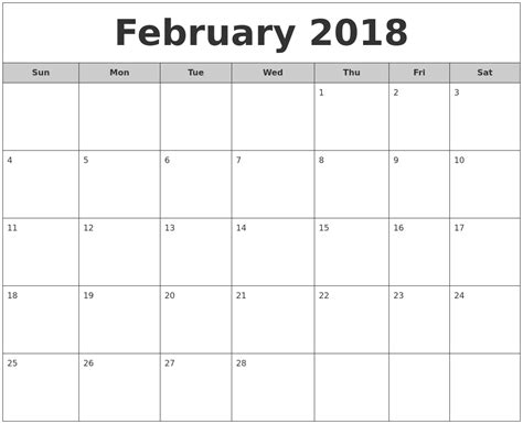 calendar month template february 2018 free monthly calendar