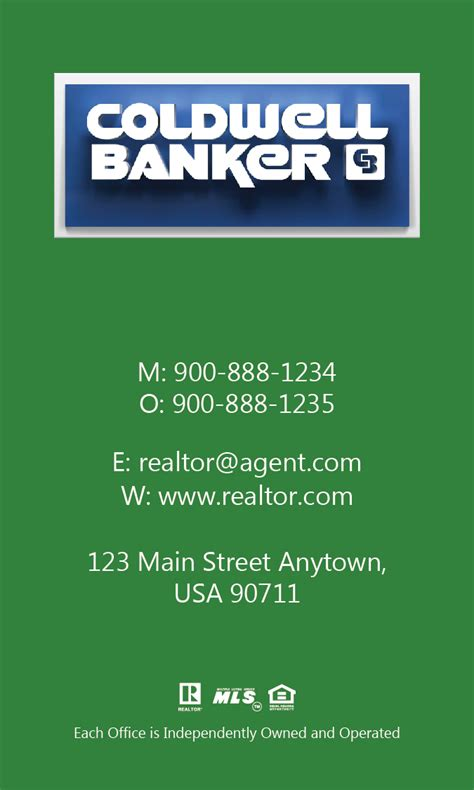Coldwell Banker Business Cards Template by Vertical Coldwell Banker Business Card Green Design 104474