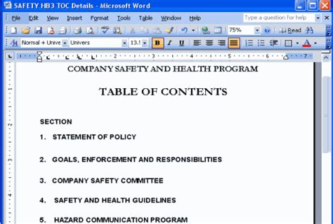 Safety Manual Template Copedia Osha Safety Manual Template