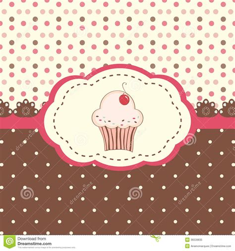 cake background pattern vector card menu with cupcake and polka dots background stock