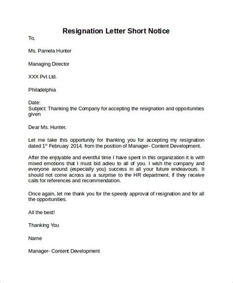 Templates For Resignation Letters Notice sle resignation letter notice 6 free documents