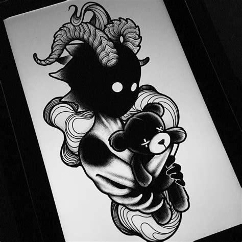 blackwork tattoo designs darkhead design blackwork creature creepy