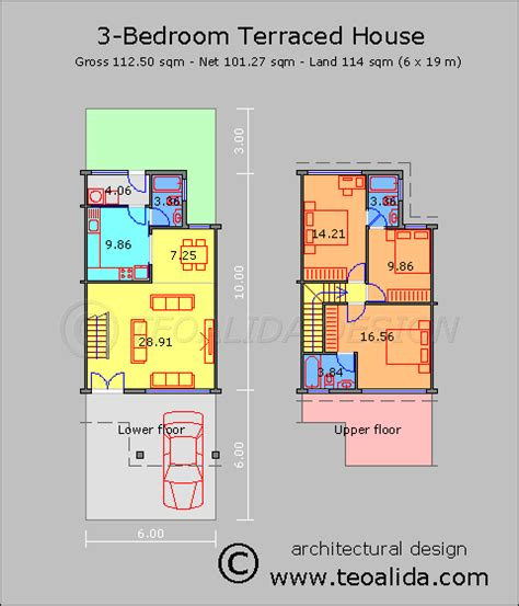 Exceptional Narrow Terraced House Design #5: Terraced-House-112sqm.png