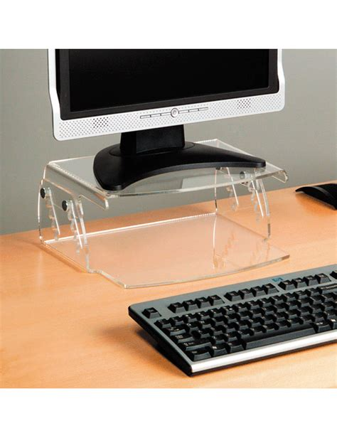 adjustable height stand up desk and monitor holder perspex height adjustable monitor stand ergonomics