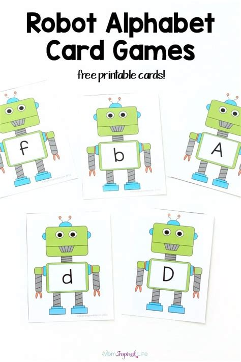 printable games for kids robot memory game free robot alphabet card games and activities