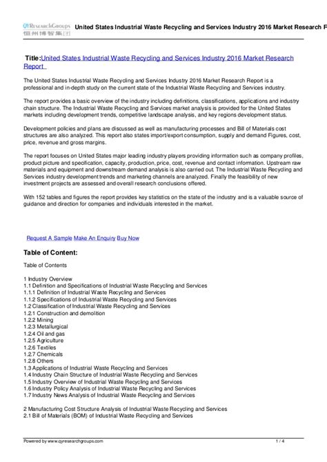 Recycling Report Template Report On United States Industrial Waste Recycling