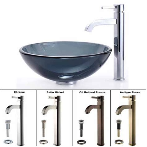 Set Gv Stelan Satin homecomforts kraus clear black glass vessel sink and sheven faucet set free shipping