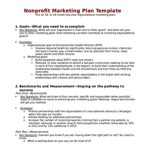 Nonprofit Marketing Plan Template 22 Microsoft Word Marketing Plan Templates Free Premium Templates