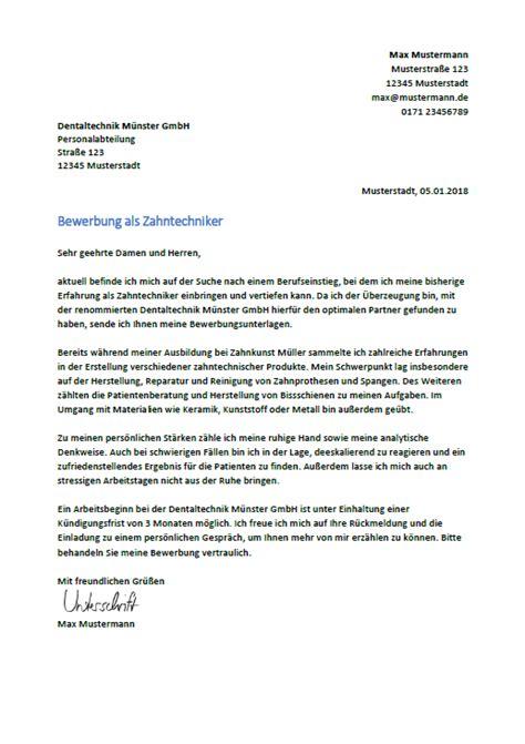 Bewerbungsschreiben Zahntechniker bewerbung als zahntechniker zahntechnikerin