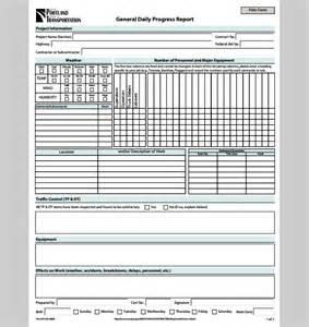 Progress sample of daily progress report template sample templates