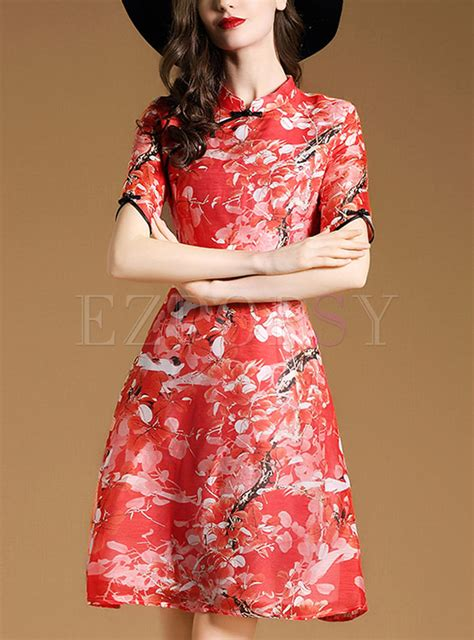Print Cheongsam vintage print cheongsam dress ezpopsy