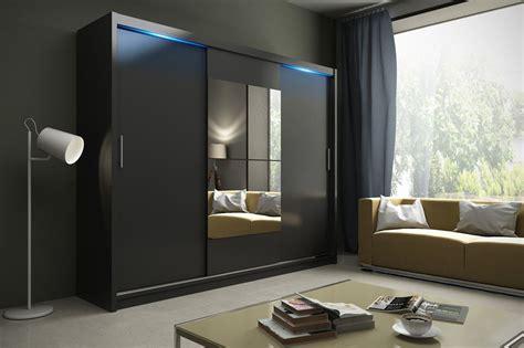 black bedroom cupboards wardrobe kola 01 250 sliding doors mirror hanging rail