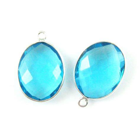 wholesale sterling silver oval bezel blue topaz quartz