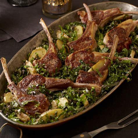 pan seared rack of lamb recipe rack of lamb with kale salad and potatoes finecooking