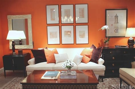 orange walls living room orange living room walls white upholstery black side