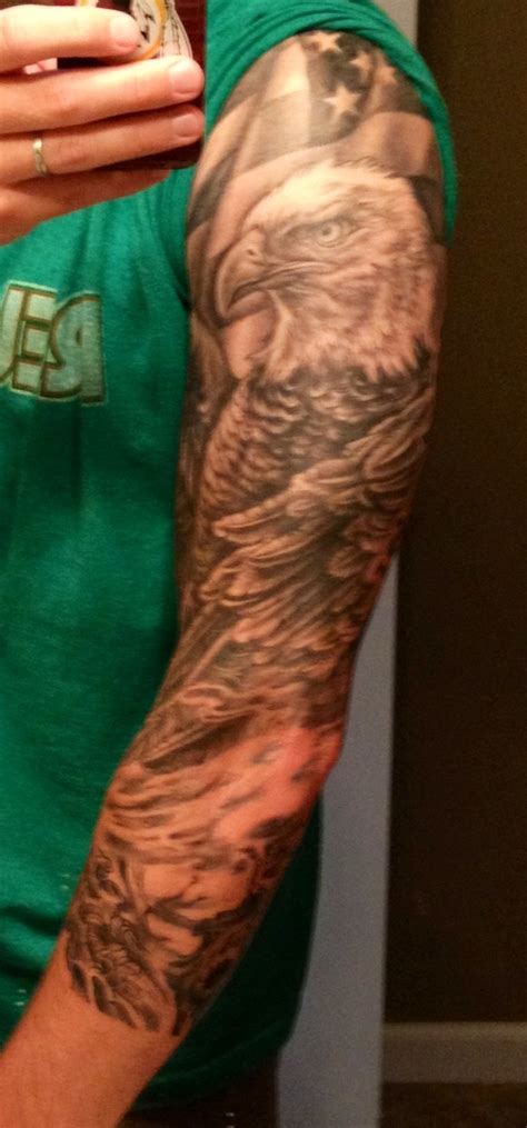 bald eagle american flag sleeve tattoos