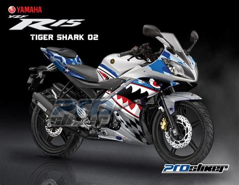 Stiker Motor Mio Soul 2009 Putih stiker motor yzr 15 warna putih biru gambar desain tiger shark 02 biru stiker motor pro stiker