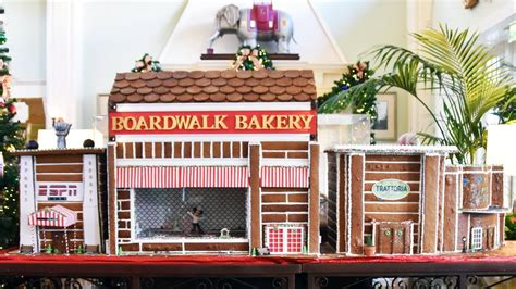 disney s boardwalk resort gingerbread house display and decorations tour 2017
