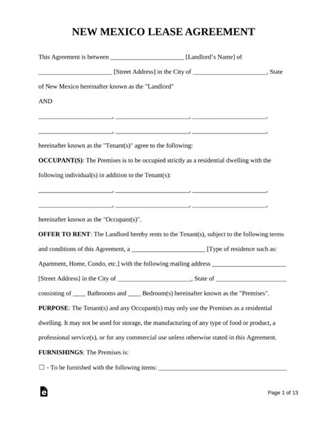 Free New Mexico Standard Residential Lease Agreement Form Pdf Word Eforms Free Fillable New Mexico Llc Operating Agreement Template