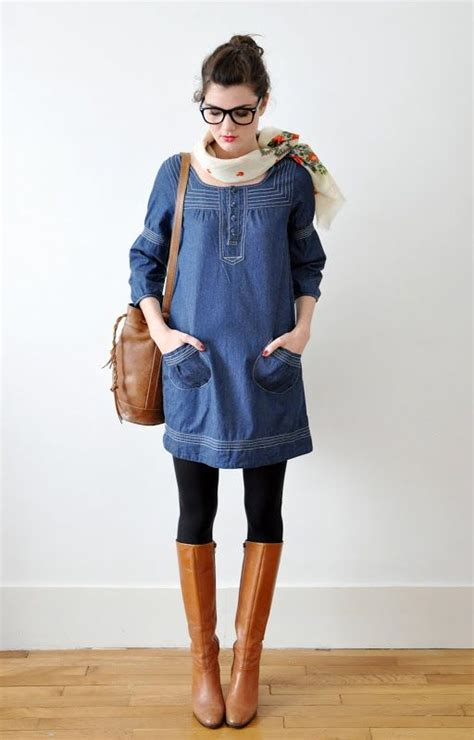 blue jean dress with boots i think this one just awesome simple blue dress